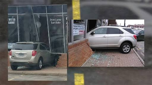 Teenage Girl Taking Driver's Exam Crashes Into Test Office
