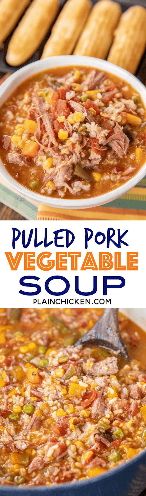 Pulled Pork Vegetable Soup Plain Chicken 174