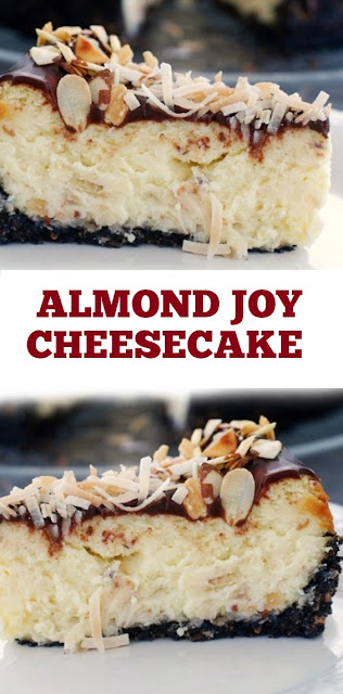 Almond Joy Cheesecake Recipe #Almond #Joy #cheesecake #desserts #cake #almonddayrecipes #almondday #almondjoy