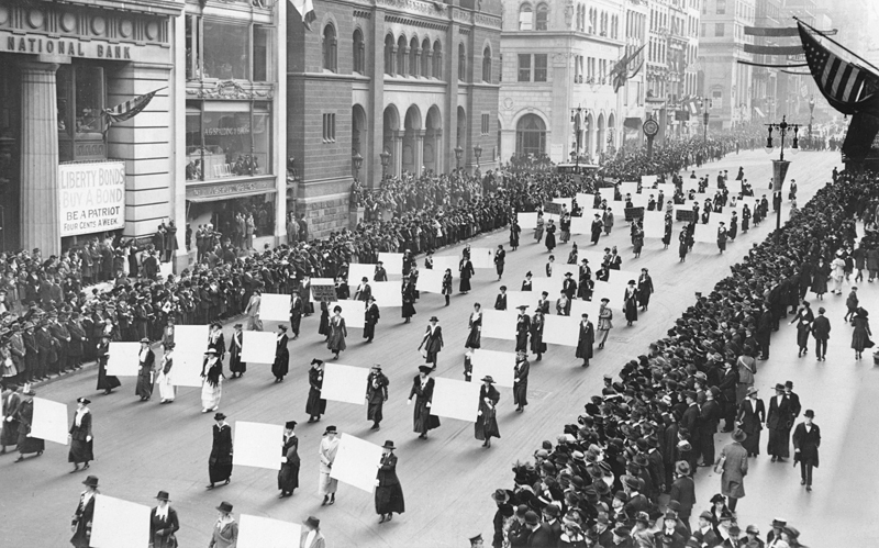 Women's suffragists parade in New York City in 1917