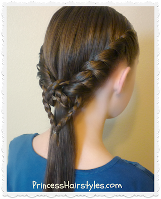 Cute and easy ponytail with twists and braids