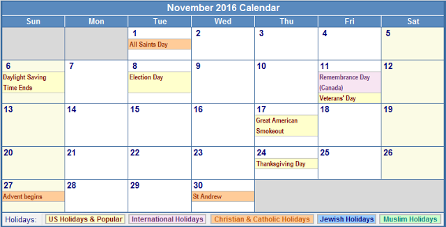 November 2016 Holiday Calendar Religious, November 2016 Religious Holiday Calendar, November 2016 Holiday Calendar, November 2016 Calendar with Holidays, November 2016 Calendar Holidays