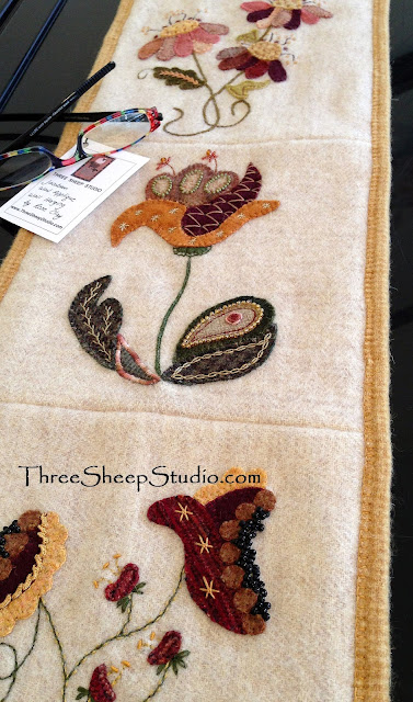 Jacobean Wool Applique Wall Hanging by Rose Clay