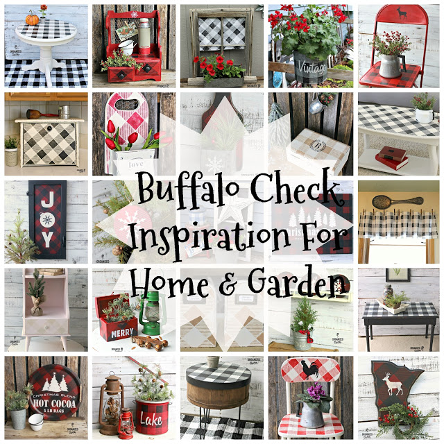 Buffalo Check Stencil Project Round Up #oldsignstencils #buffalocheck #buffaloplaid #stencil