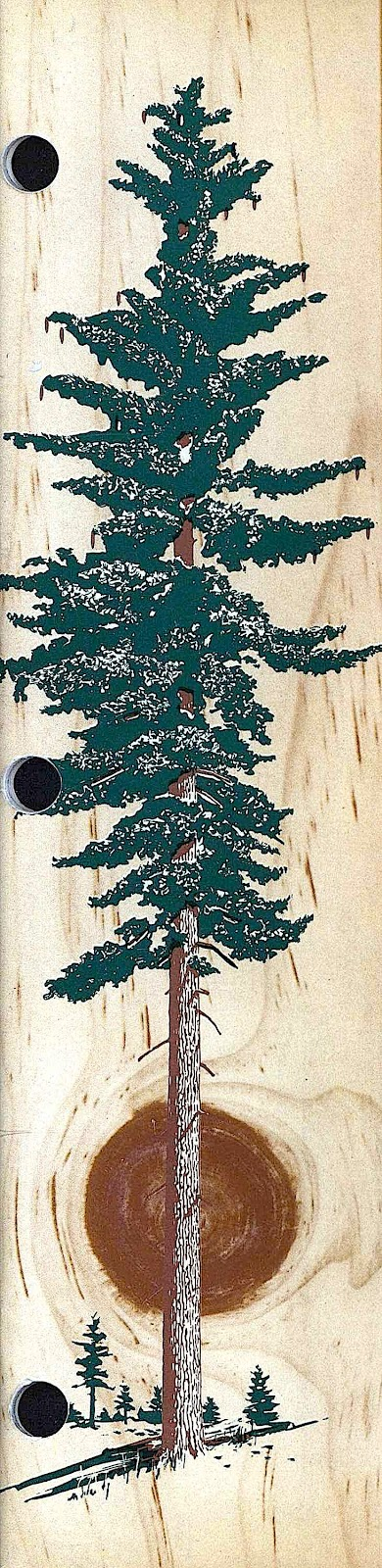 1955 tree illustration, wood on wood, tree on wood