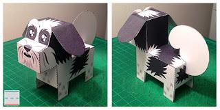 Papercraft imprimible y armable del perro Shih Tzu. Manualidades a Raudales.