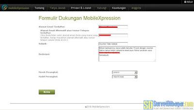 Menuliskan permintaan bantuan pada support MobileXpression | SurveiDibayar.com