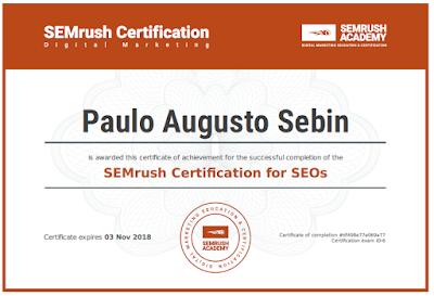 Certificado SEM Rush SEO - Paulo Sebin