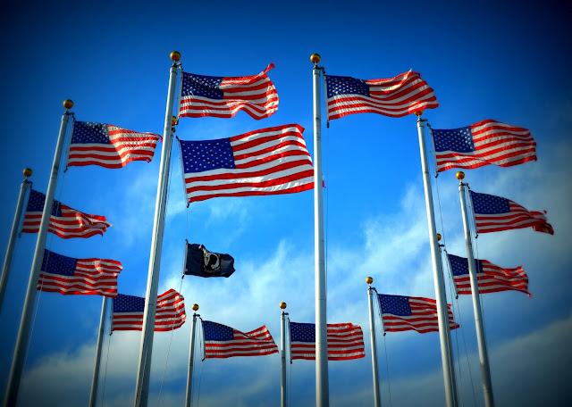 Memorial Day, Riley Plaza, Salem, Massachusetts, blue, flags, sky,