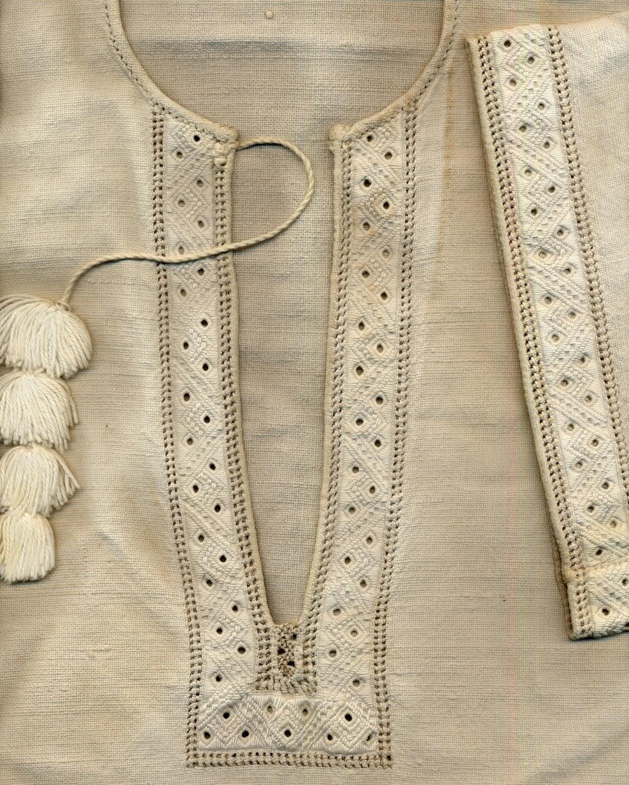 Folkcostume embroidery whitework of sniatyn