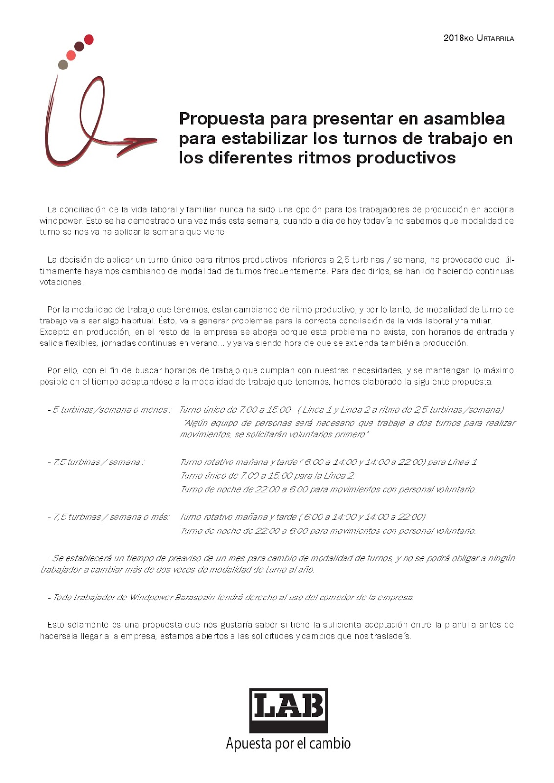 Lab windpower: PROPUESTA CAMBIOS MODALIDADES DE TURNO