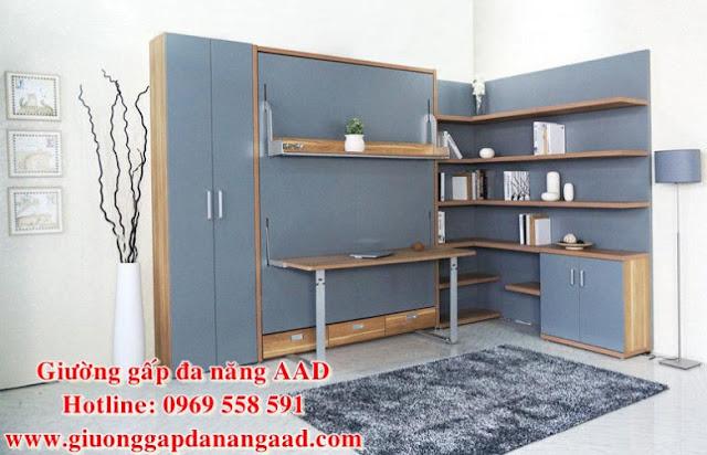 Giường gấp dọc đa năng cao cấp GAAD1 khi gấp vào