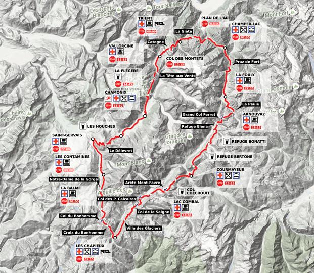 Mapa Ultra Trail du Mont Blanc