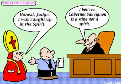 funny drinking bishop court cartoon joke picture