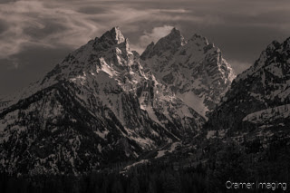 Cramer Imaging's black and white landscape photograph of Teewinot Mountain in Grand Teton National Park, Wyoming