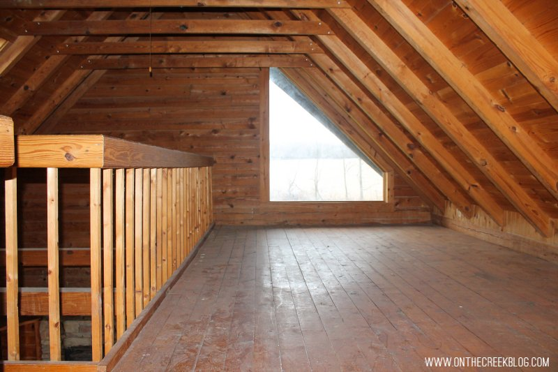 'Before' photo of our loft area when we first purchased our fixer upper!