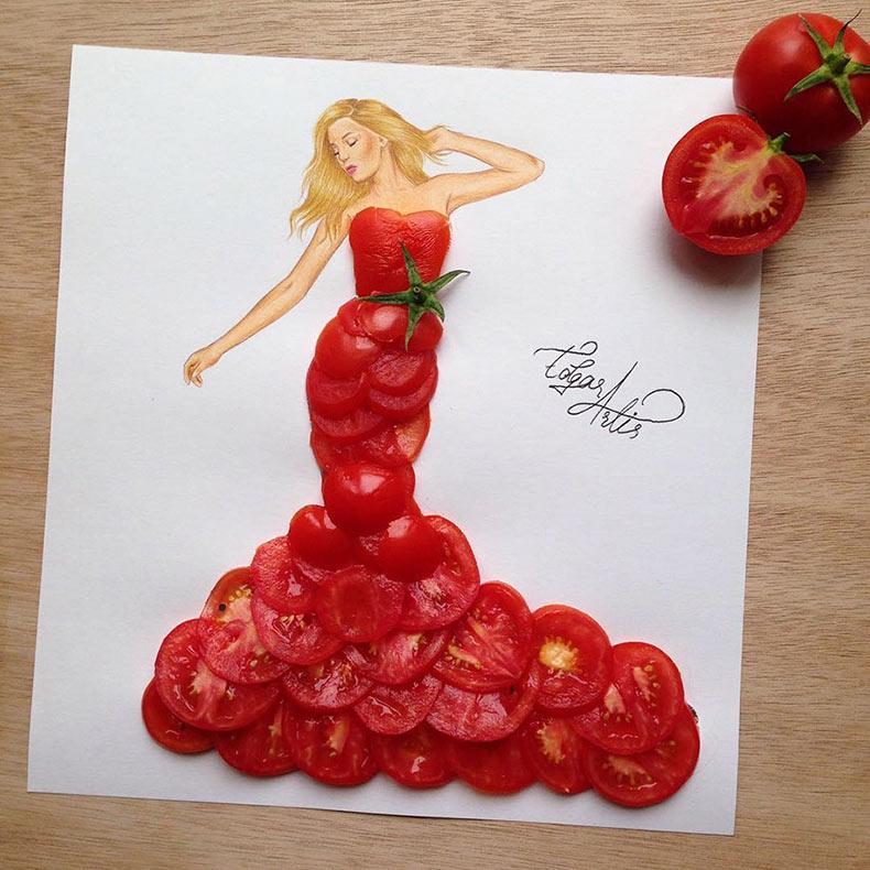 Ilustrador armenio crea asombrosos diseños de vestido usando objetos cotidianos