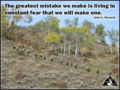The greatest mistake we make is living in constant fear that we will make one. – John C. Maxwell Crew walking up a slope