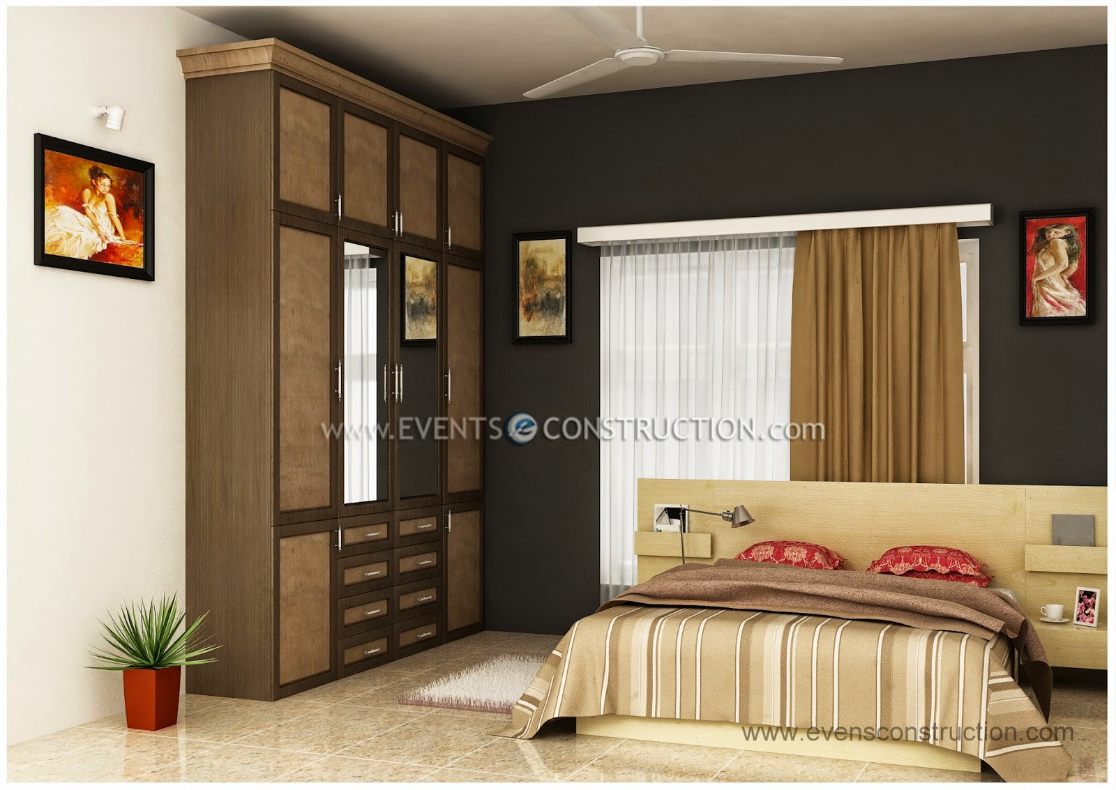 Evens Construction Pvt Ltd Simple Kerala Bedroom Interior