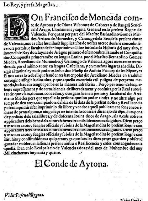 Francisco de Moncada, comte de Aytona, Bernardino Gómez Miedes, Jaime I, valensiá, valencià