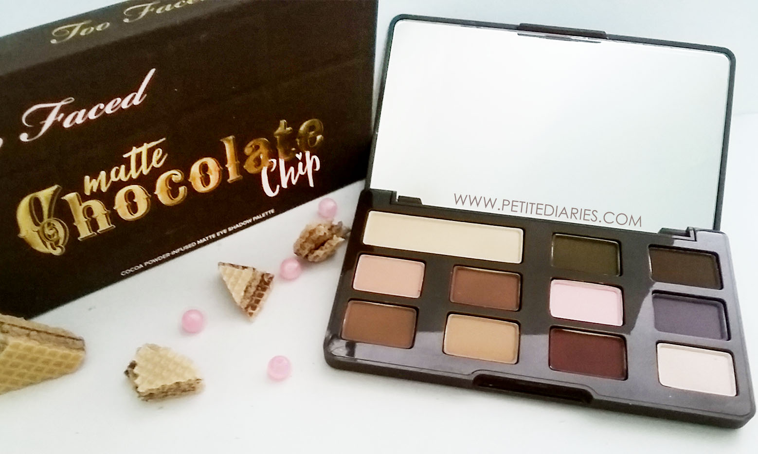 swatch toofaced matte chocolate chip eye shadow