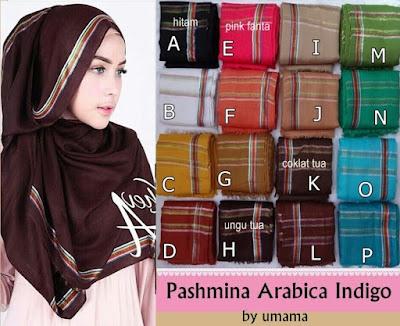 Model Jilbab Terbaru Pashmina Arabica Indigo