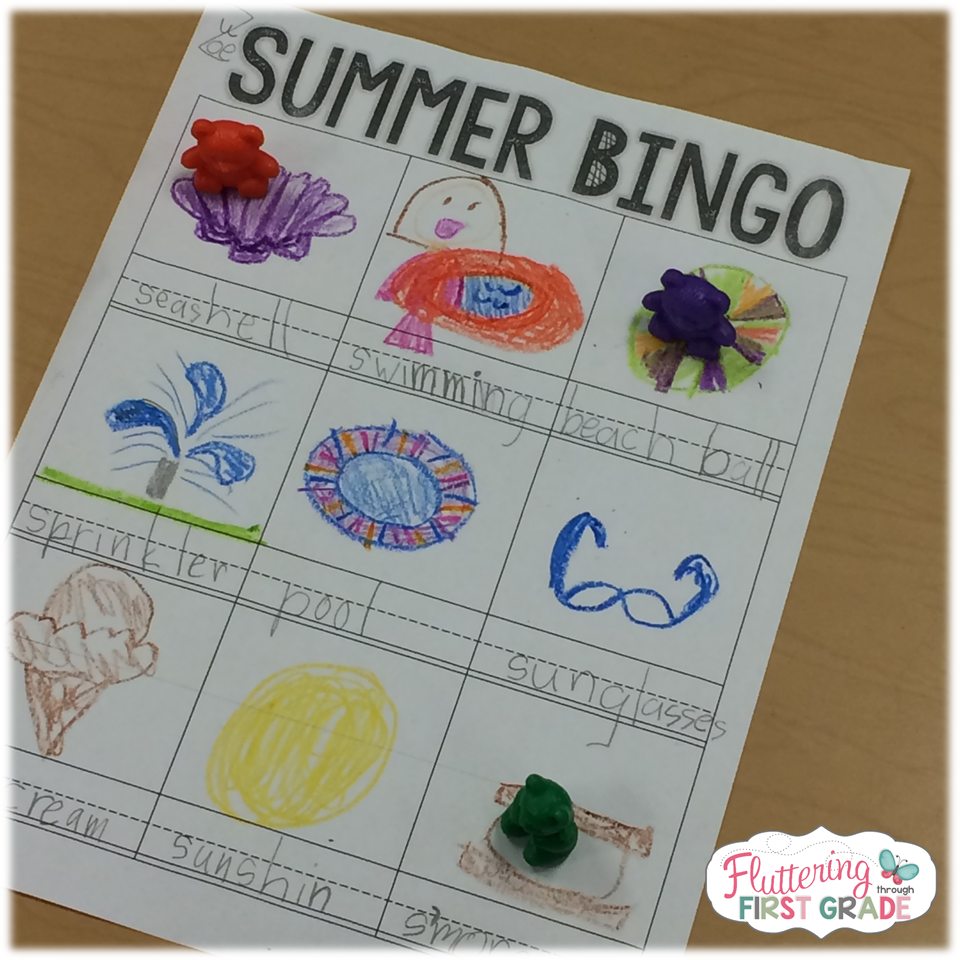Summer Bingo. Last day of school activities for the classroom.