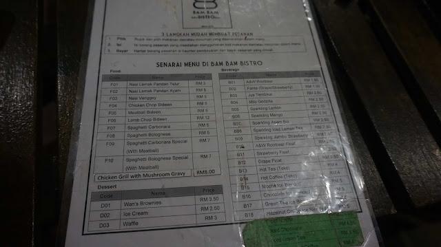 Senarai makanan dan minuman di Bam Bam Bistro