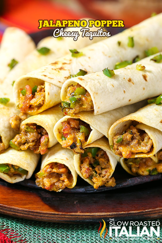 Jalapeno Popper Cheesy Taquitos #gameday #recipe @SlowRoasted