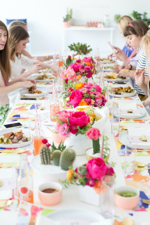 fiesta brunch, cactus brunch, colorful party