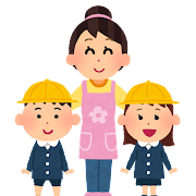 幼稚園児と保母・保育士さんのイラスト