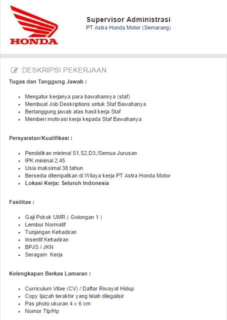 Informasi Terbaru - Lowongan Kerja PT Astra Honda Motor (Semarang) 2019