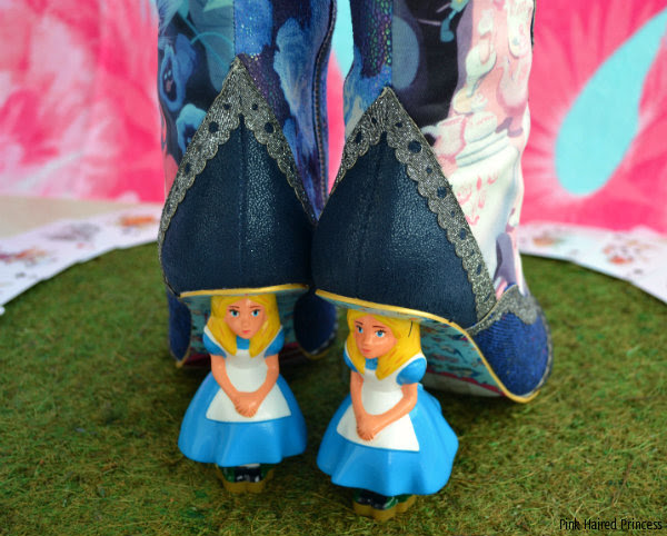 back view of Alice Irregular Choice character heels on boots