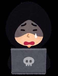 ハッカーのイラスト(泣いた顔)