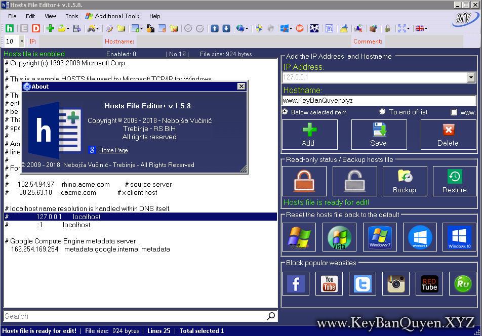 Hosts File Editor + 1.5.8 Full Final, Phần mềm giúp bạn chỉnh sửa file hosts trong Windows và hơn thế nữa.