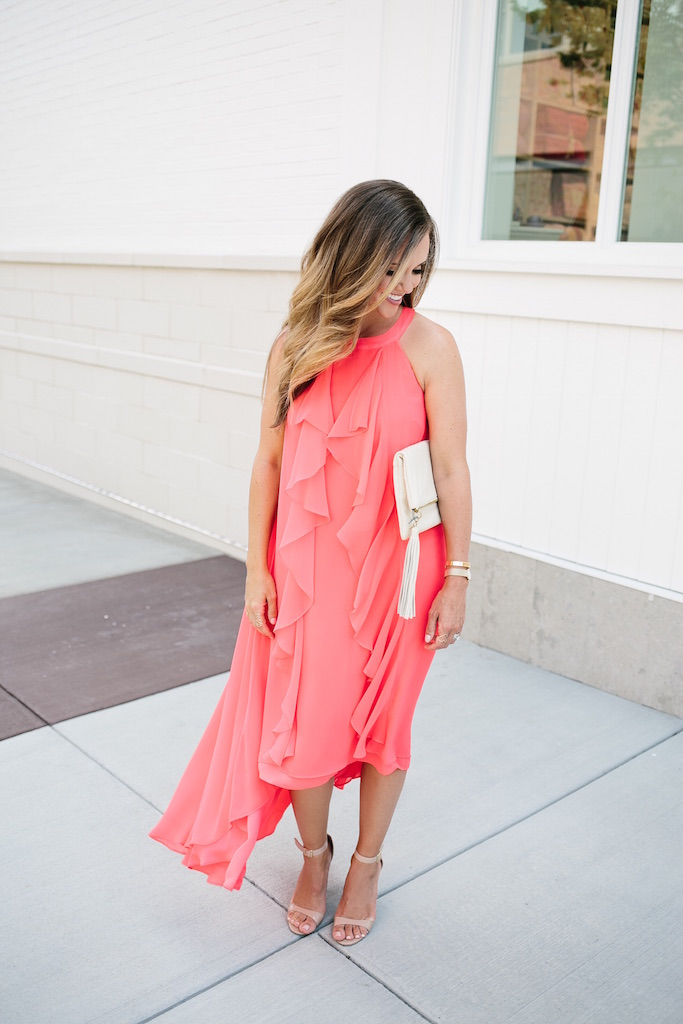 KBStyled: halter dress ruffle dress coral dress maxi dress