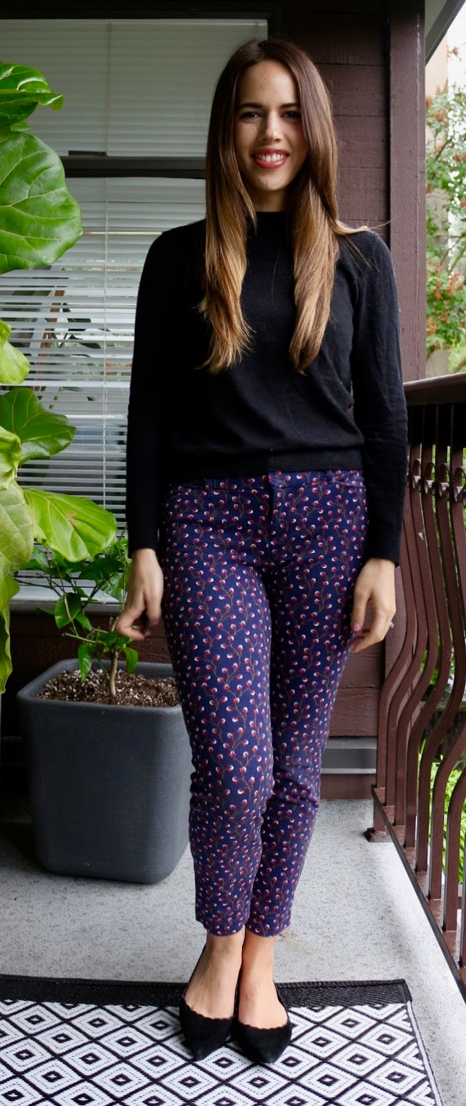 Jules in Flats - Black Sweater and Dot pants