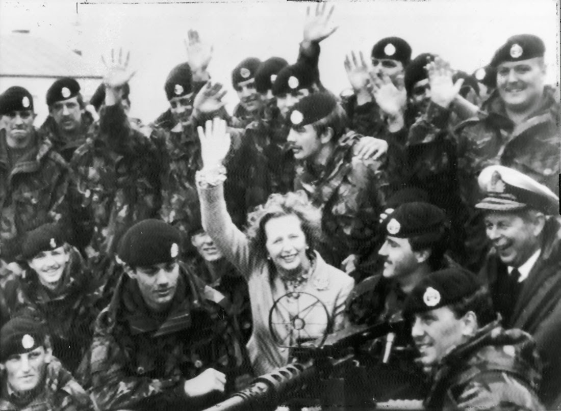 Mrs. Thatcher visiting British troops in Falkland Islands, January 1983.