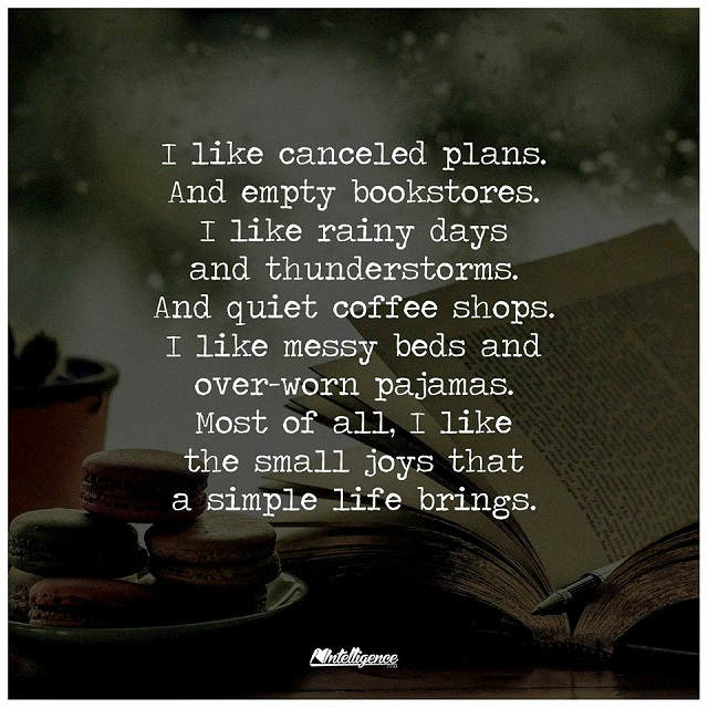 I like the Small Joys that a simple Life brings, quiet ...