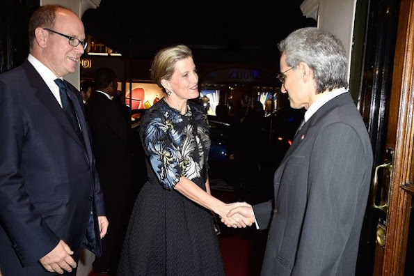 Countess Sophie of Wessex, Prince Albert II of Monaco and Prince Alwaleedbin Talal Al Saud attends the Prince Albert II of Monaco Foundation Dinner