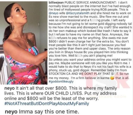 Make Up Artist Calls Out NeYo's Wife For Allegedly Owing Her $800, Threatens To Publish His House Address On Social Media
