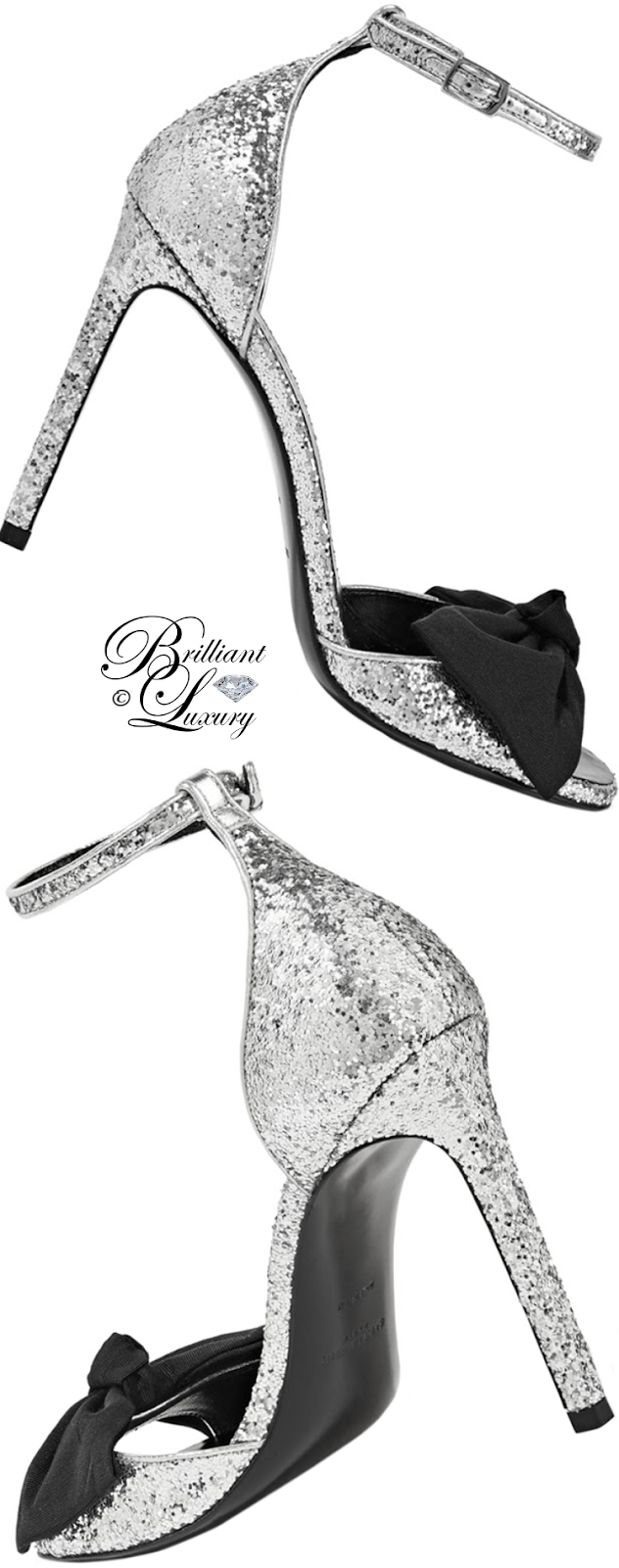 Brilliant Luxury ♦ Saint Laurent Jane Silver Glitter Bow Sandal