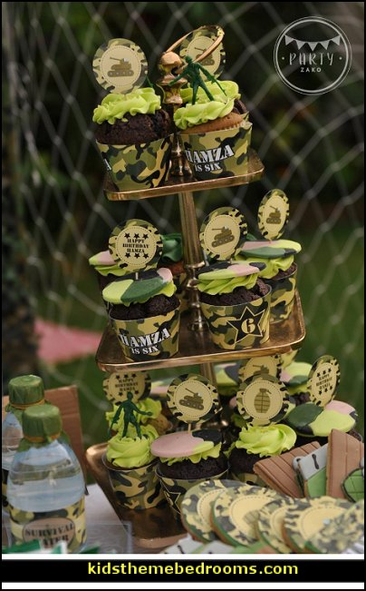 Army cupcake wrappers  army party decorations - Camouflage Party Supplies - army party ideas - Military party ideas for a boy birthday party - Army & Camouflage decorations - army party decoration ideas - army themed party - army costumes - Army Camo Party Supplies -