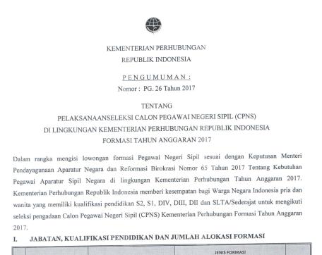 KEMENHUB - Soal dan Pendaftaran CPNS Kementerian Perhubungan 2017