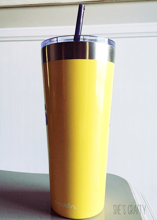 yellow metal tumbler