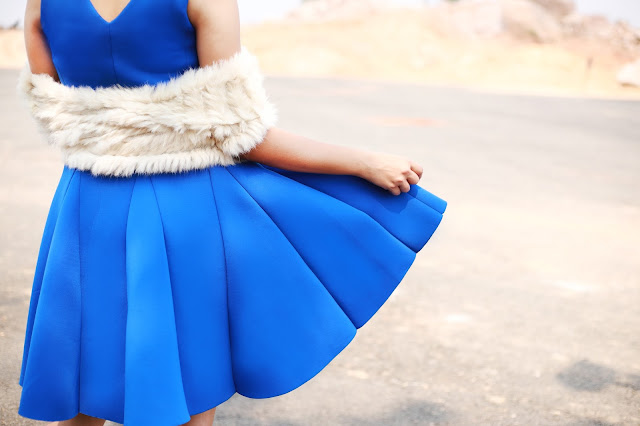 blue skater dress styled by stylist supriya gupta