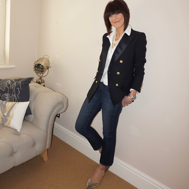 My Midlife Fashion, J Crew tuxedo jacket, j crew twisted hammock pearl necklace, baukjen coco shirt, j crew cropped kick flare jeans, j crew metallic flats
