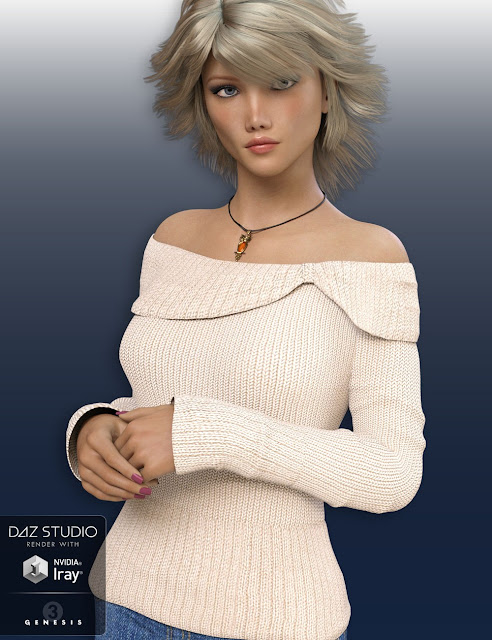 Off Shoulder Sweater for Genesis 3 Female