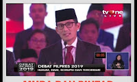 "Sandiaga Uno ""Man of The Match"" Debat Pilpres Perdana 2019"