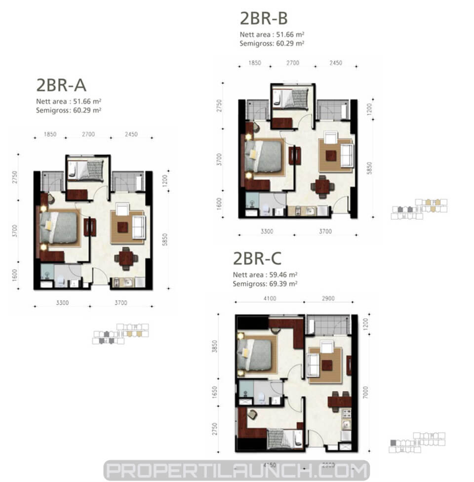 Denah Apartemen Permata Hijau Suites 2 BR